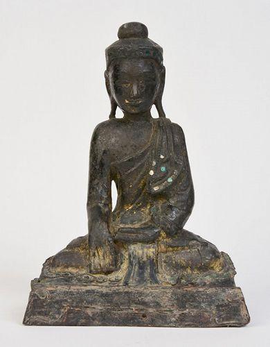Early 19th Century, Early Mandalay, Burmese Wooden Seated Buddha