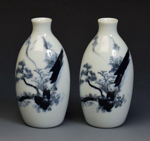 Early 20th Century, Showa, A Pair of Japanese Porcelain Sake Bottles
