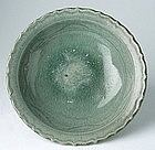 Sukhothai Celadon Dish with Foliaged Rim
