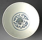 Ming Blue and White Bowl w/ Lotus Medallion