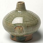 Sukhothai Celadon Oil Jar of Flattened Globular Form