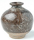 Khmer Jarlet Brown-glazed w/ Plain Decoration