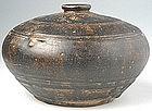 Nice Khmer Honey Pot Brown-glazed w/ Carved Decoration