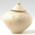 A Khmer Green Creamy Glazed Bowl with Lid