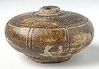 Khmer Brown Glazed Honey Pot with Plain Decoration