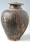 Khmer Brown Glazed Jar with Lid and Decorations