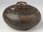 Khmer Brown Glazed Honey Pot w/Carved Decoration