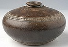 Khmer Honey Pot Brown-glazed w/ Carved Decoration