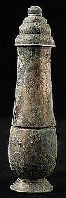A Khmer Bayon Bronze Lime-Pot
