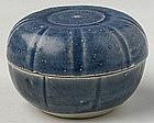 Hoi An Vietnamese Blue Glazed Covered Box