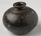 Khmer Brown Glazed Bottle Jarlet w/ Globular Body