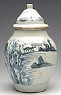 Ming Blue and White Covered Jar with Landscape Scene