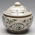 Ming Blue and White Covered Jar w/ Stylized Flowers