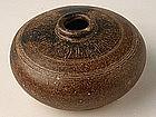 Khmer Brown-Glazed Honey Pot w/ Carved Decoration