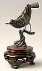 Chinese Export Silver and Enamel Bird