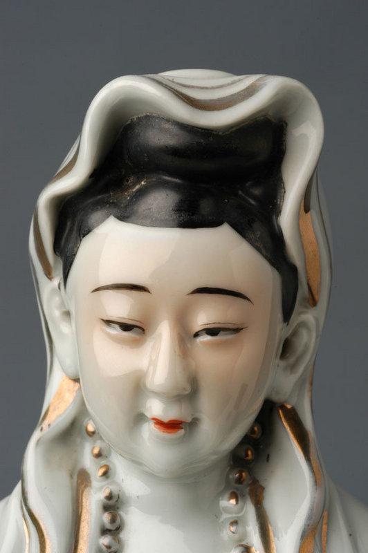A Polychrome Porcelain Model of Guanyin (Kuan Yin)
