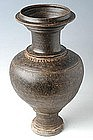 Khmer Brown Glazed Vase with Neck and Decorations