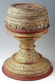 Large Burmese Offering Bowl Decorated with Mirror Tiles