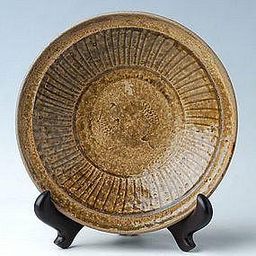 Sukhothai period, Rare Sankampaeng Plate w/ Fish Design