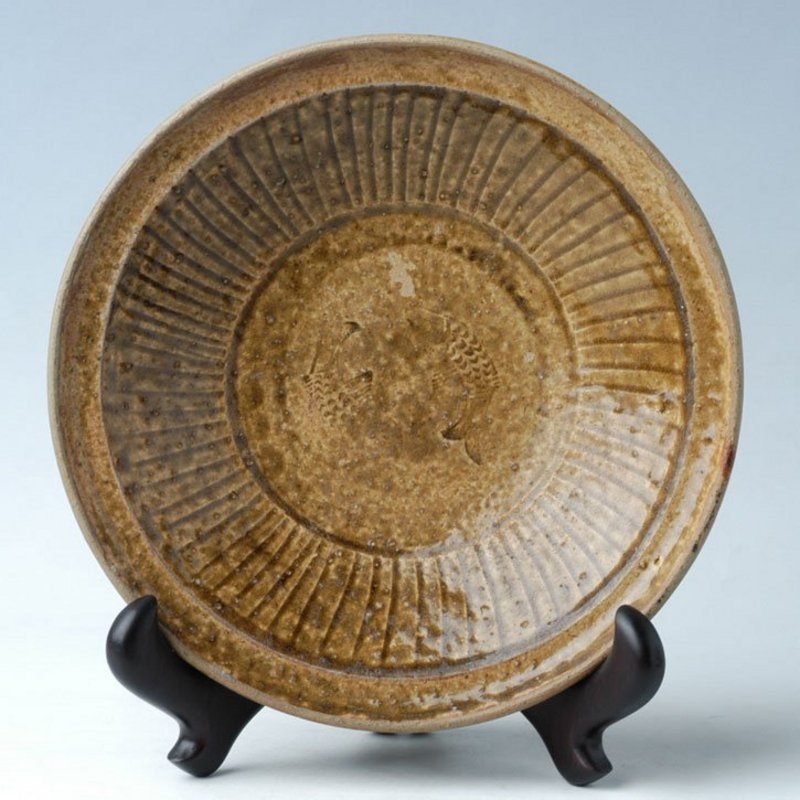 Sukhothai, Rare Sankampaeng Plate with Fish Design