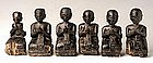 A Rare Set of 14 Burmese Black Lacquer Disciples Part 2