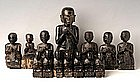 A Rare Set of 14 Burmese Black Lacquer Disciples Part 1