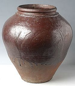 18th Century, Burmese Brown Glazed Jar