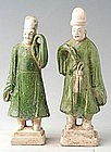 Ming Dynasty, A Pair of Chinese Pottery Court Men