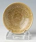 Vietnamese Olive Green Glaze Floral Plate