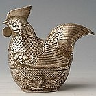 19th Century, Large Khmer Cock-Shaped Silver Box