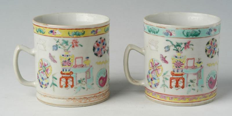 A Pair of Chinese Export Polychrome Porcelain Mugs