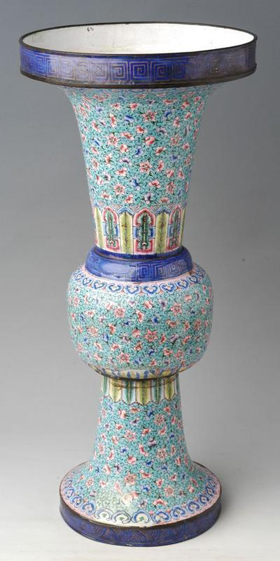 Big Chinese Painted Enamel Vase, Huafalang