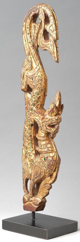 Gilded Wood Carving in the Form of Naga with Mirror