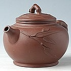 Chinese Dark Brown Bamboo Design Clay Teapot