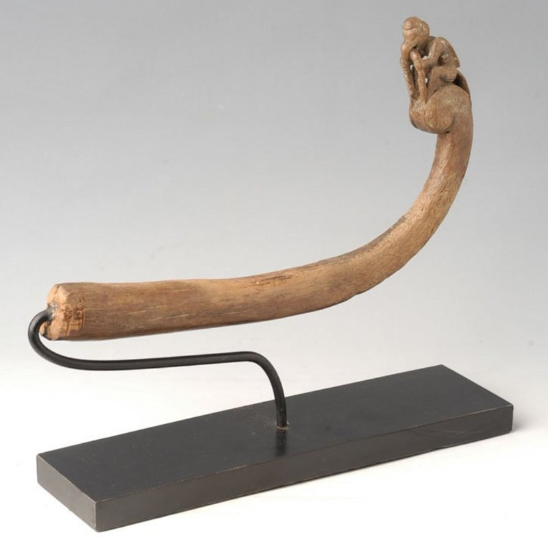 A Burmese Carved Wooden Sickle Handle with Parrot
