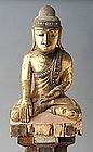19th Century, Mandalay, Burmese Wooden Sitting Buddha