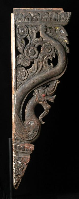 19th century, Rare Carved Wooden Naga Roof Bracket
