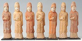 Tang Dynasty, Chinese Painted Pottery Figures