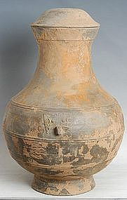 Han Dynasty, Large Chinese Pottery Hu Jar