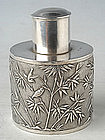 Silver Tea Caddy with Birds in Bamboo Grove