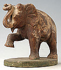 Burmese Carved Wooden Elephant