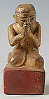 Burmese Mandalay Carved Wooden Disciple