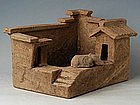 Han Dynasty, Rare Chinese Pottery House with Dog & Pig