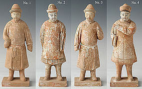 Ming Chinese Painted Pottery Models of Attendants