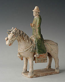 Ming Chinese Glazed Pottery Model of Rider on Horse