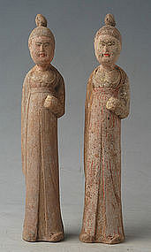 Tang Dynasty, Chinese Painted Pottery Court Lady
