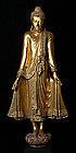 19th Century, Large Burmese Wooden Standing Buddha