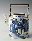 Chinese Qing Dynasty B & W Teapot w/ a City Scene