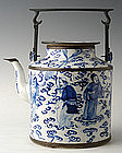 Chinese Qing Dynasty B & W Teapot w/ the 8 Immortals
