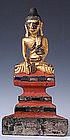 19th Century, Burmese Wooden Sitting Buddha